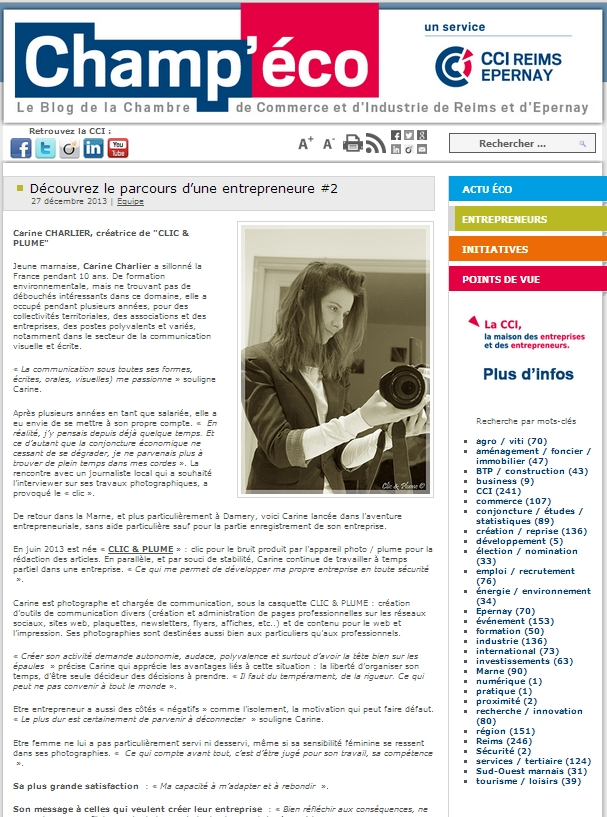 Article Champ'éco du 27 décembre 2013