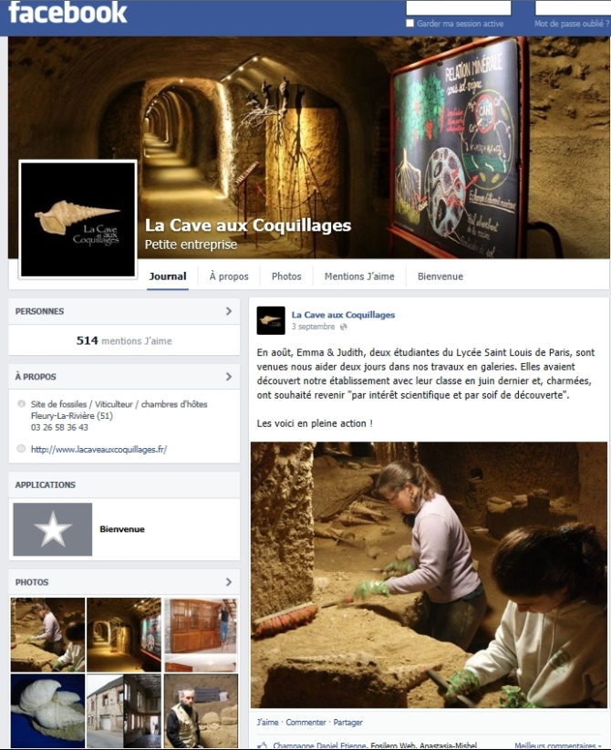 Page facebook Pro Cave aux Coquillages
