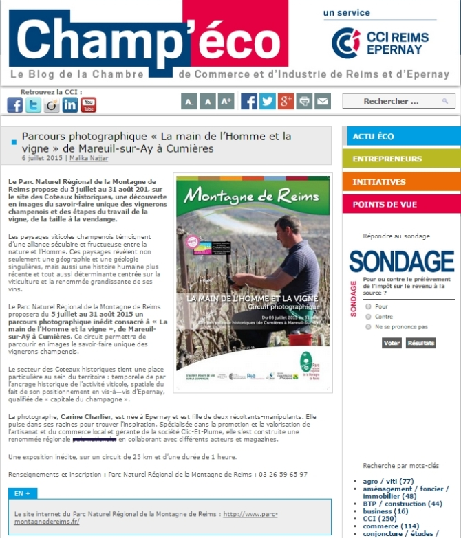 Article Champ'Eco Circuit-Expo PNR 2015