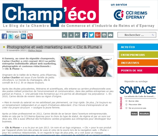 Article Champeco 9 novembre 2015