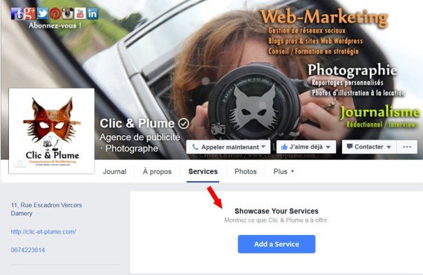 Onglet Services Facebook