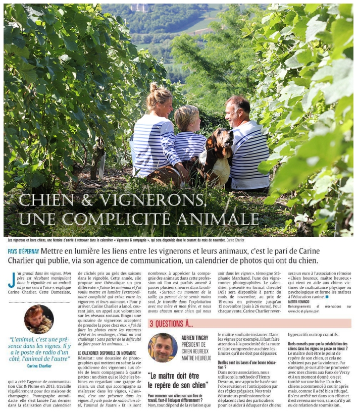 Article Union Vignerons & Cie du 29 octobre 2017