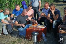 Pause casse-croûte pour les vendangeurs - Champagne Marc de Fleury-La-Rivière.